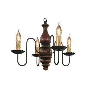 Abigail Chandelier in Black Rub Over Barn Red with Spicy Mustard Trim