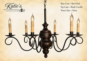 Queen Anne Wooden Chandelier Black Crackle over Barn Red