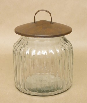 "Round Glass Canister with Rusty Tin Lid-6"" x 7.5"""