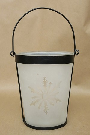 Frosted Snowflake Candle Jar - White