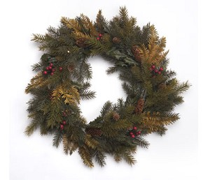 "20"" Mixed Pine & Holly Wreath"