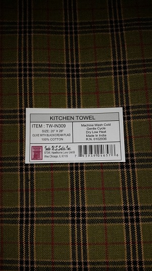 Kitchen Towel 20 x 28 Olive with Black/Cream Plaid
