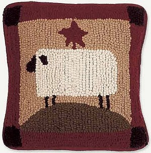 Sheep Hooked Wool Pillow