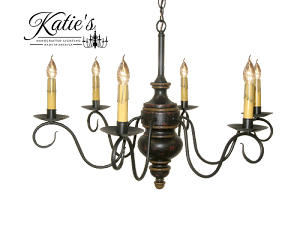 Queen Anne Wooden Chandelier Black Crackle over Barn Red with Spicy Mustard Trim