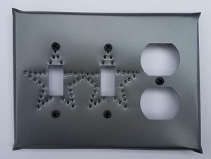 Tin Double Switch/Single Outlet Star Left Punch