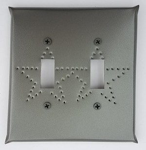 Tin Double Switchplate Star Punch