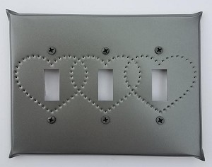 Tin Triple Switchplate Heart Punch