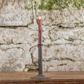 "MOVING FLAME 7.5"" CRANBERRY WAXED TAPER W/TIMER"