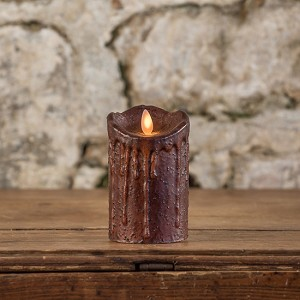 MOVING FLAME 2 IN X 4.75 IN TOBACCO PILLAR CANDLE WITH TIMER