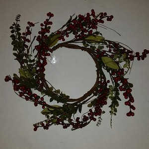 "15"" Red Berry and Greenery Candle Ring"
