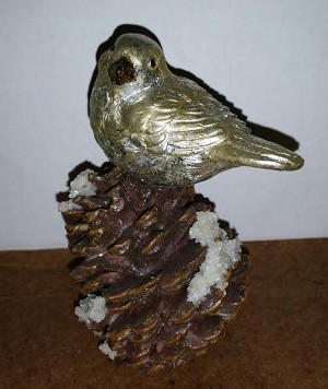 Resin Bird on Pinecone with Glitter