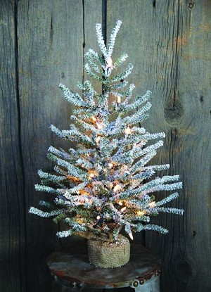 "24"" Snowy Pine Tree w/ 210 Tips, 35 Clear Lights & Burlap Base"