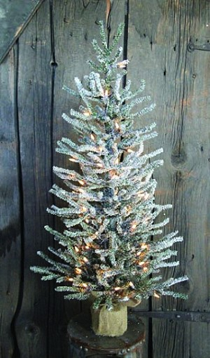 "36"" Snowy Pine Tree w/ 454 Tips, 50 Clear Lights & Burlap Base"