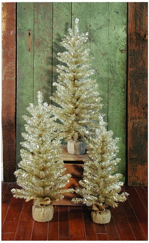 "30"" Tree w/106 Tips & Burlap Base (Antique Silver)"