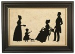 Parent with Two Daughters Silhouette