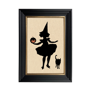 WITCH WITH PUMPKIN AND CAT