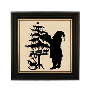 SANTA TRIMMING THE TREE SILHOUETTE