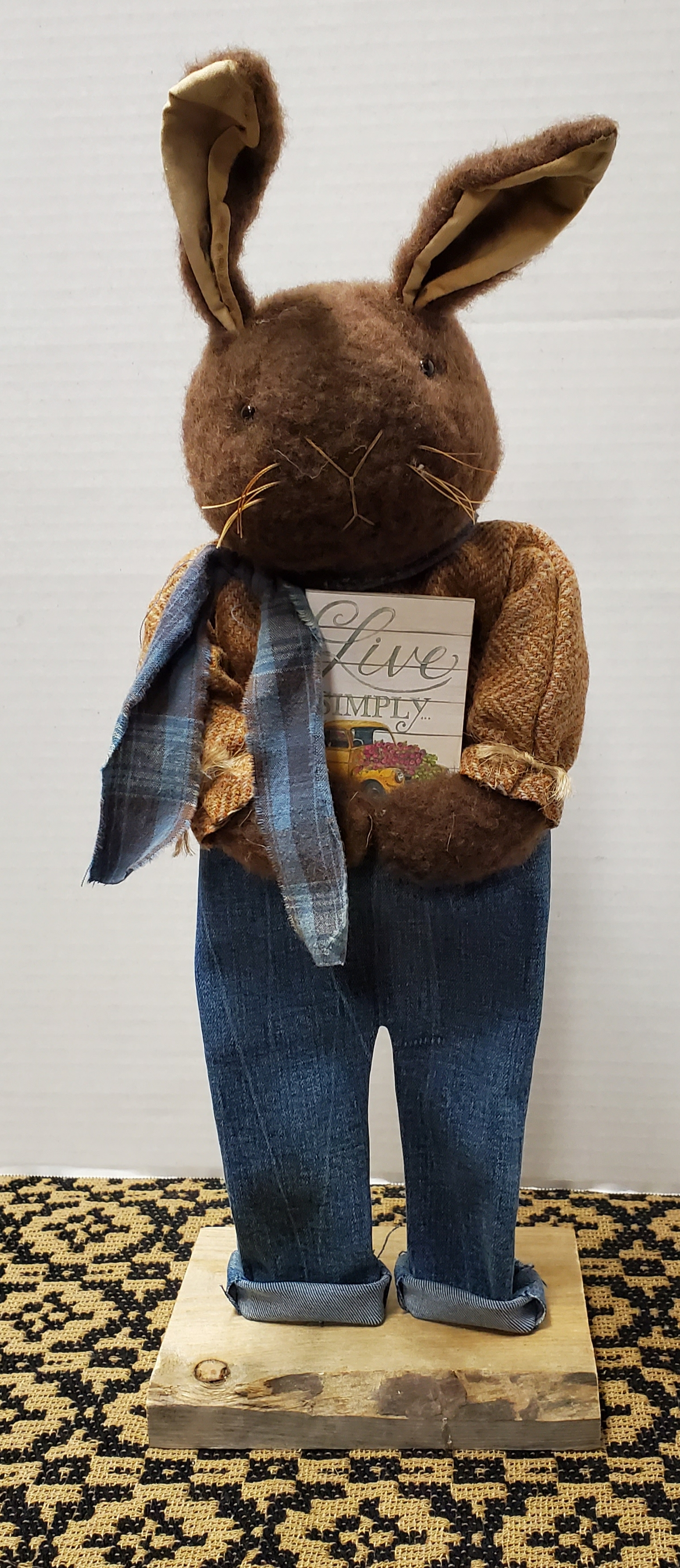 Brown Bunny with Jeans Holding Live Simply Book