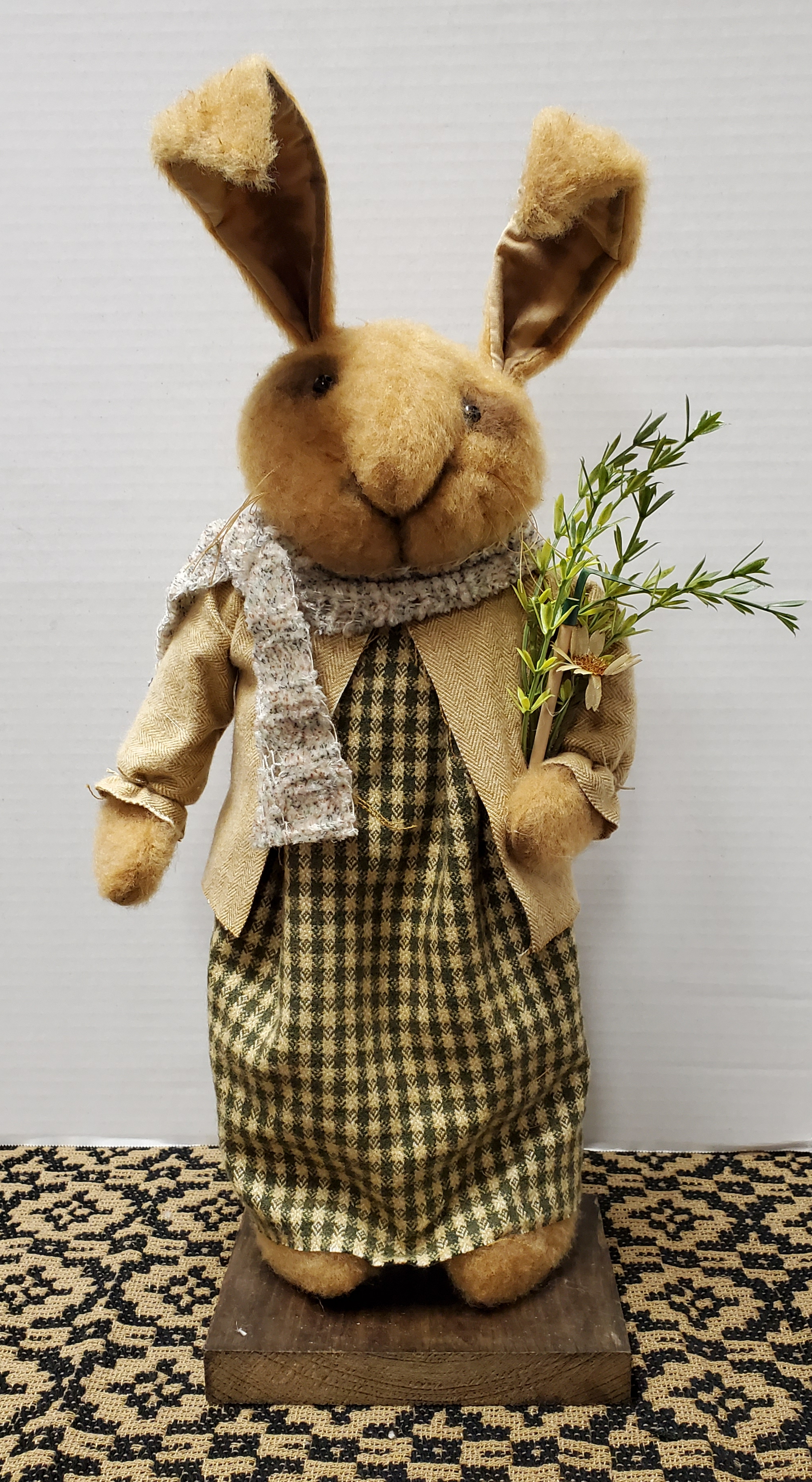 Bunny with Green Check Dress and Tan Coat