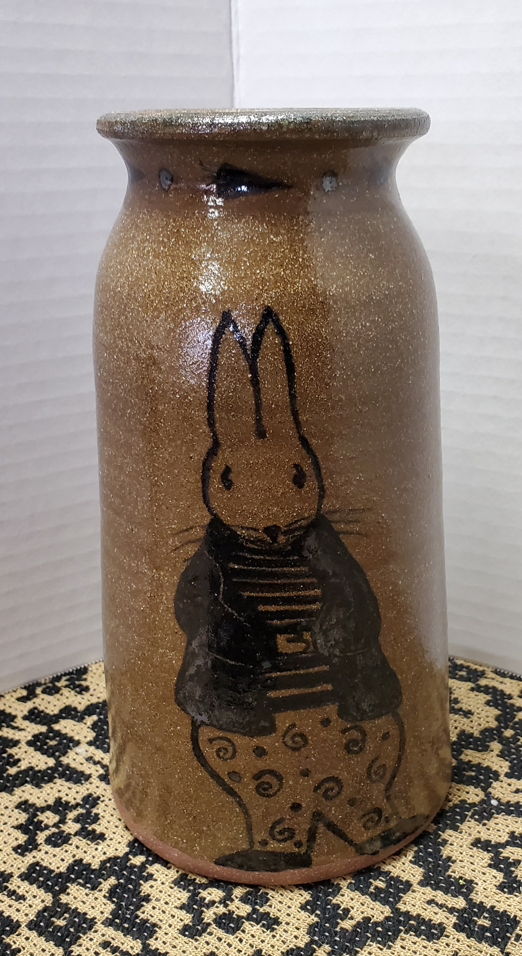Large Canning Crock with Bunny in Jacket