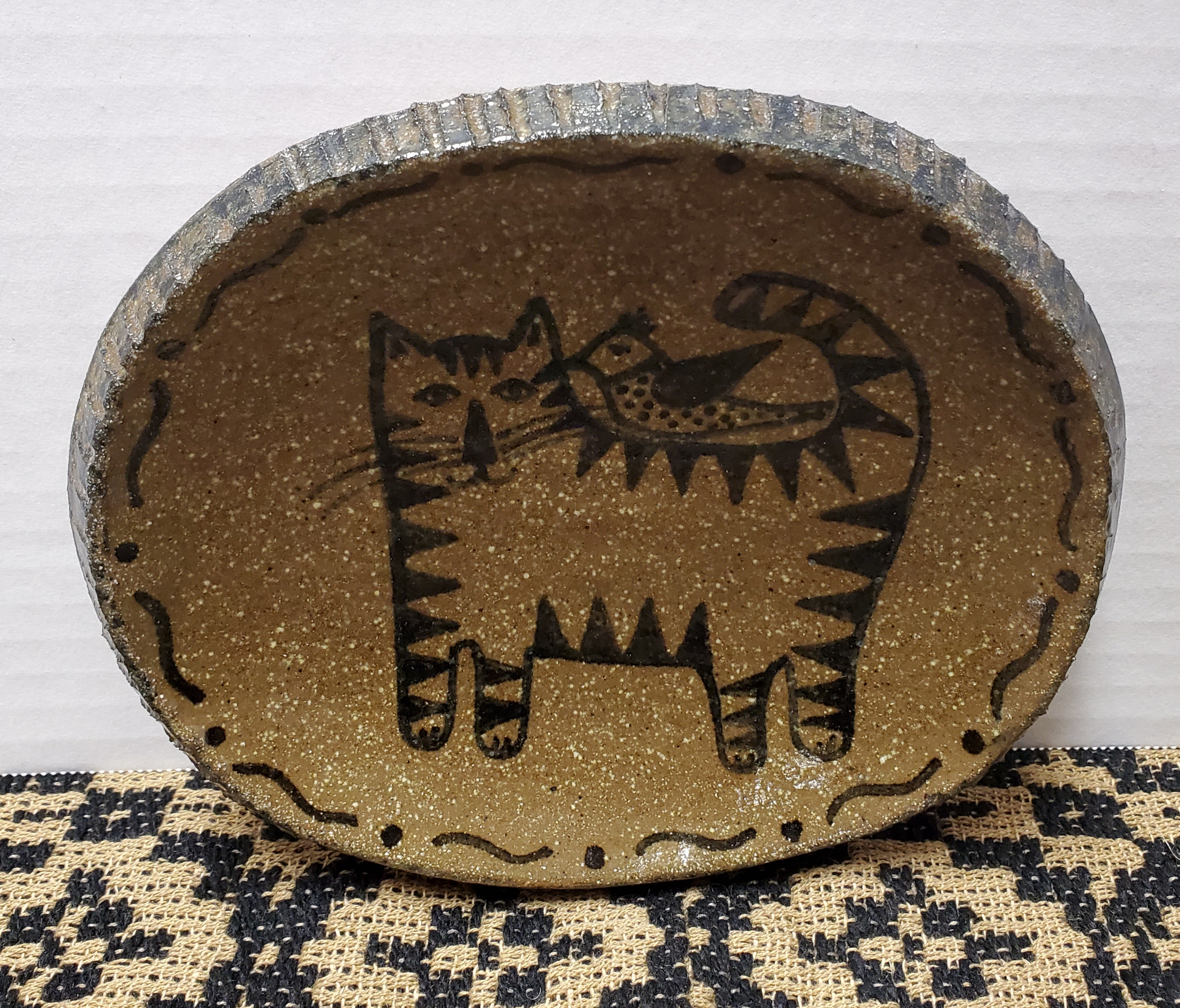 Small Pottery Plate with Cat and Rooster