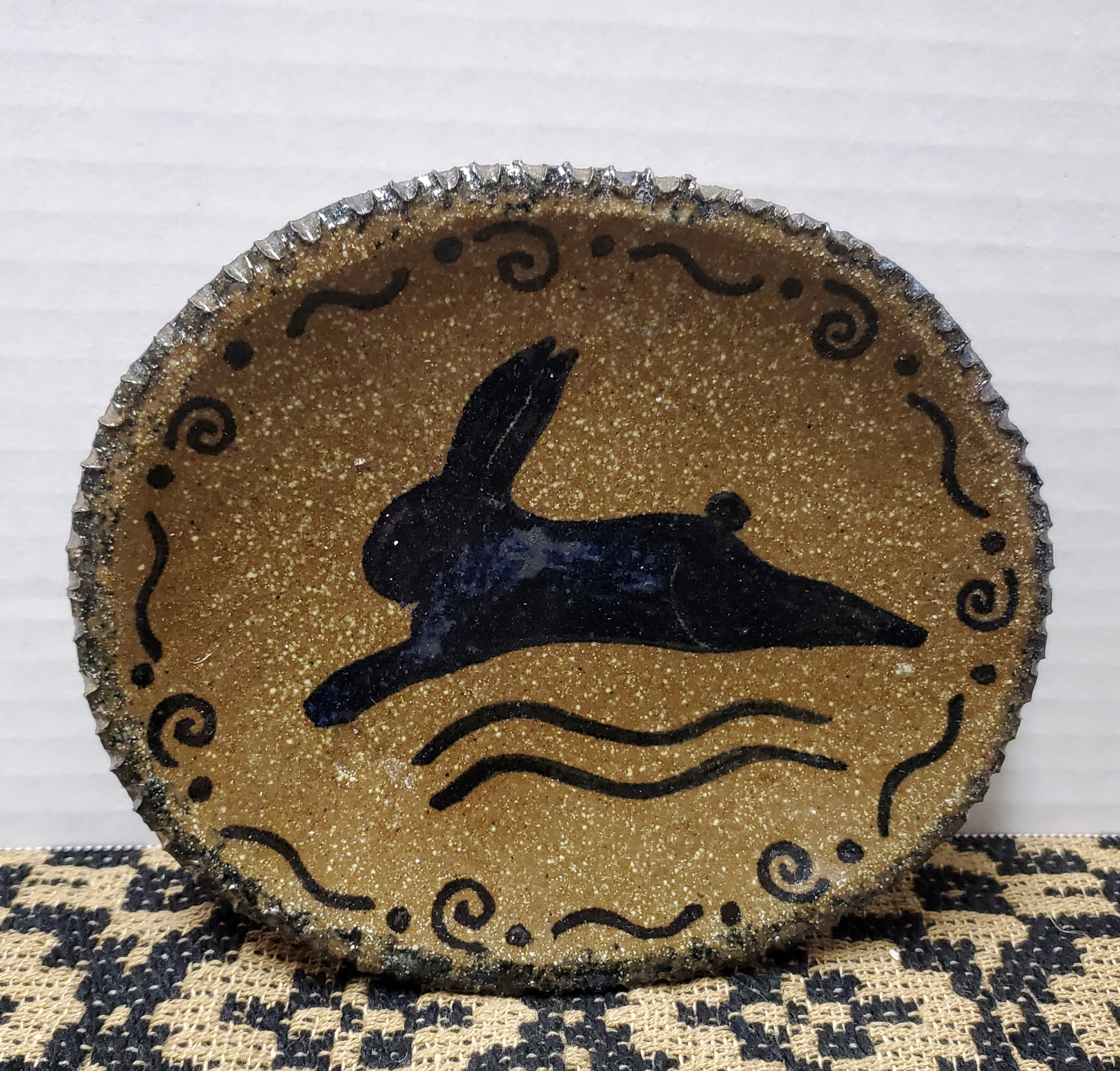 Small Pottery Plate with Bunny