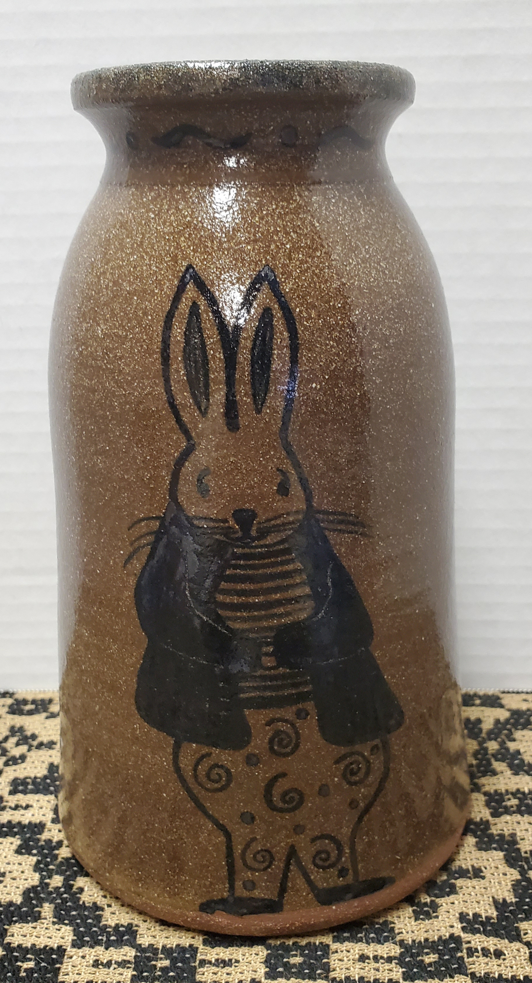 Large Canning Crock with Bunny Wearing Jacket