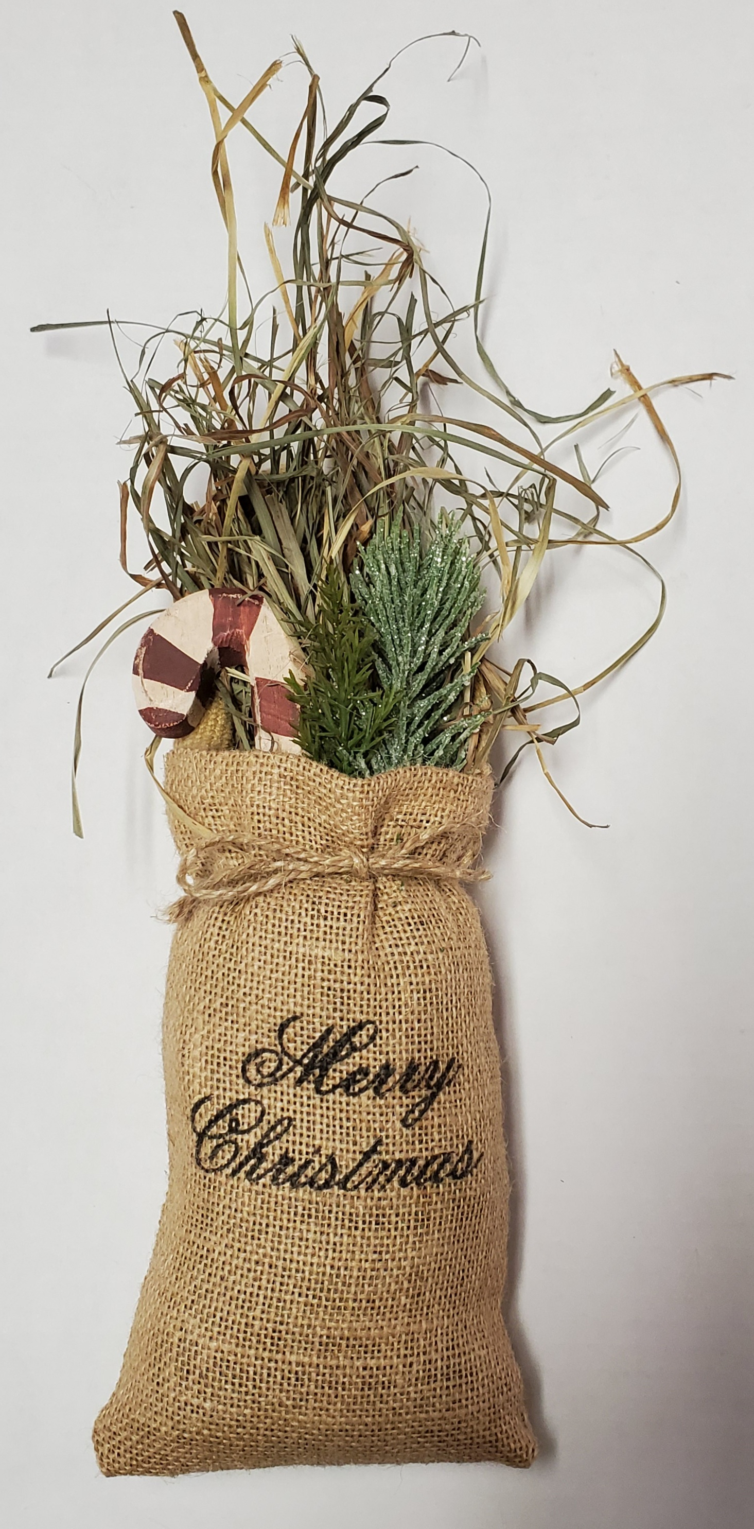 Merry Christmas Burlap Bag with Candy Cane