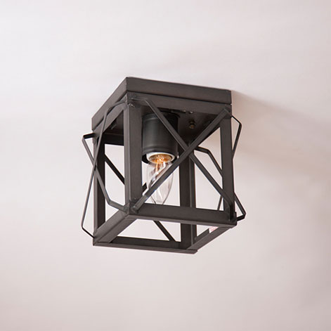 Single Ceiling Light with Folded Bars in Kettle Black - No Glass