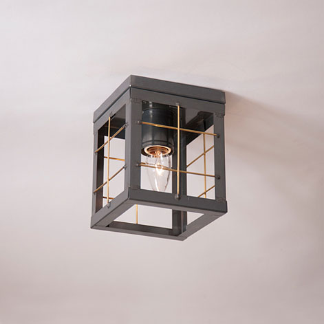 Single Ceiling Light with Brass Bars in Country Tin - No Glass
