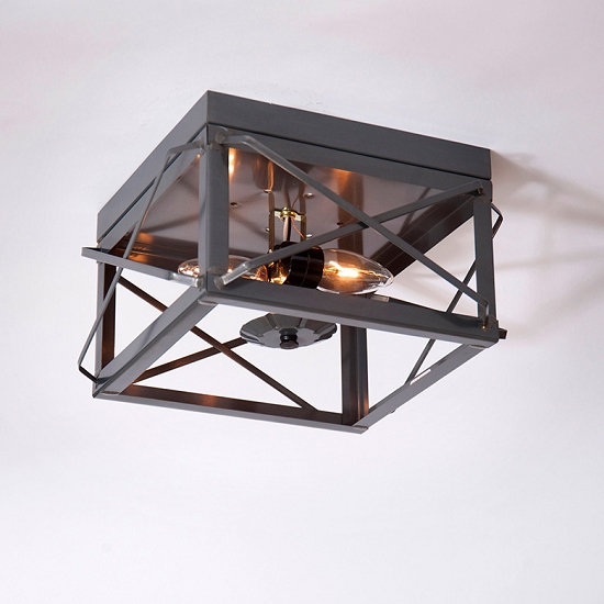 Double Ceiling Lights with Folded Bars Country Tin - No Glass