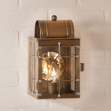 Small Wall Lantern Weathered Brass