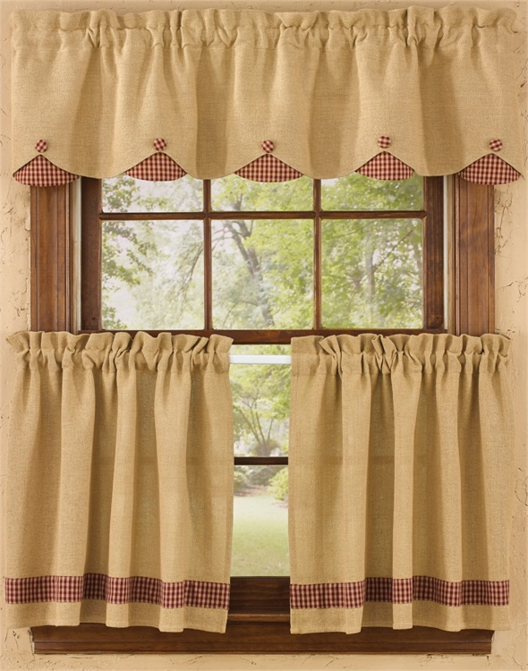 Burlap and Check Lined Scallop Valance - Wine