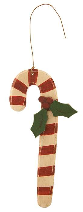 Candy Cane Ornament With Holly