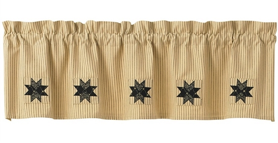 Carrington Lined Ticking Patch Valance