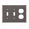 Double Switch and Outlet Cover Unpierced in Blackened Tin