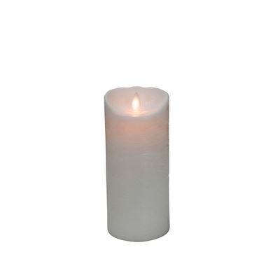 Mystique White Distressed 7 Inch Pillar Flameless Candle