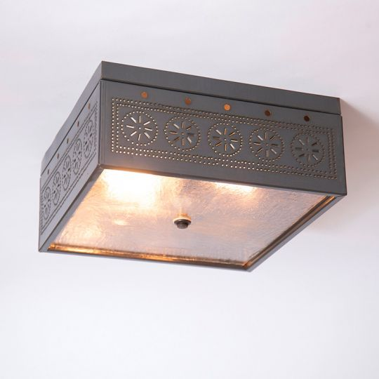 Square Ceiling Light in Country Tin
