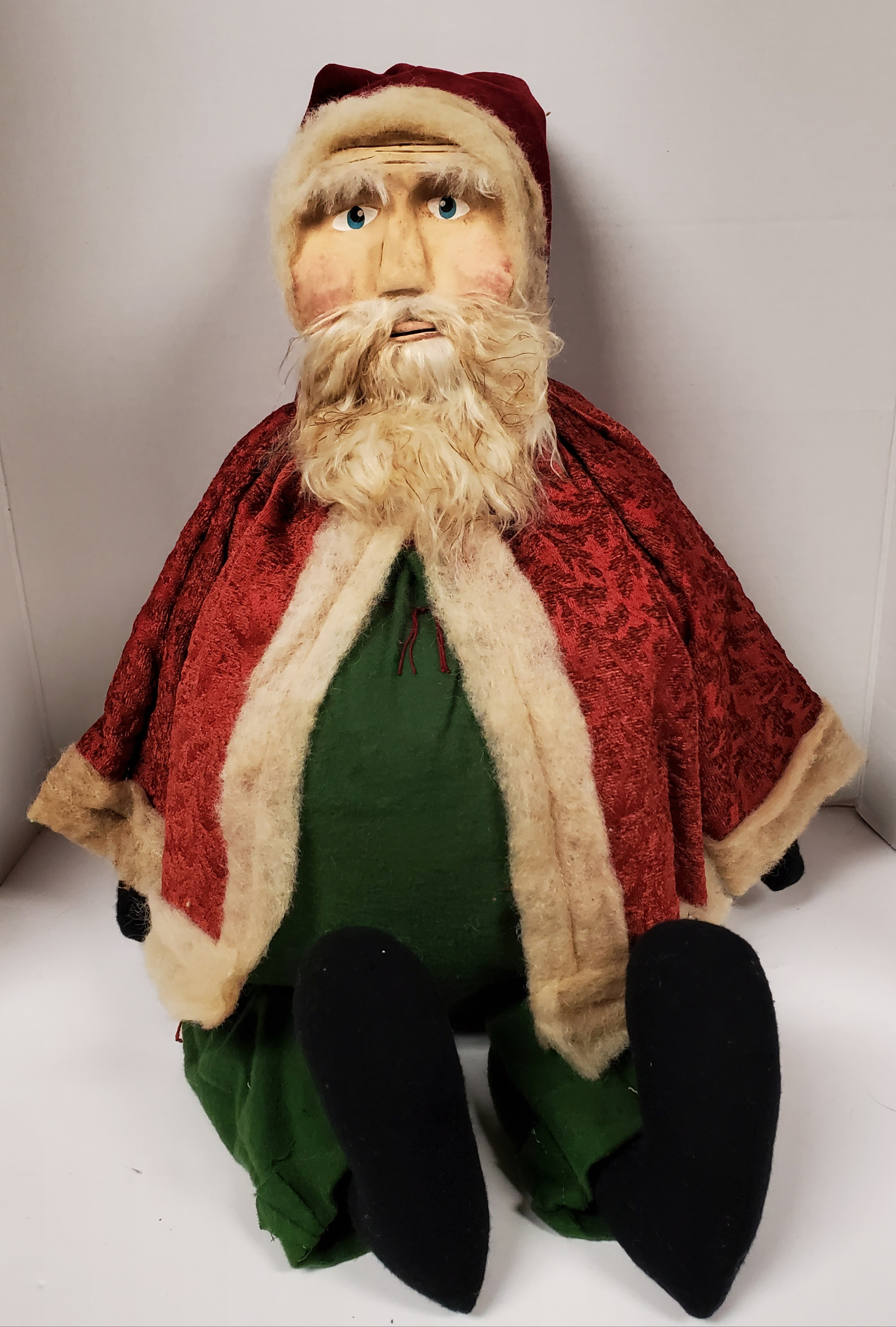 Clay Face Santa with Red Brocade Coat and Green Overalls