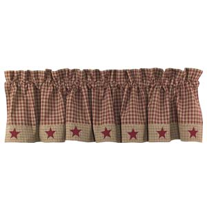 Burgundy Homespun Star Valance (72x14