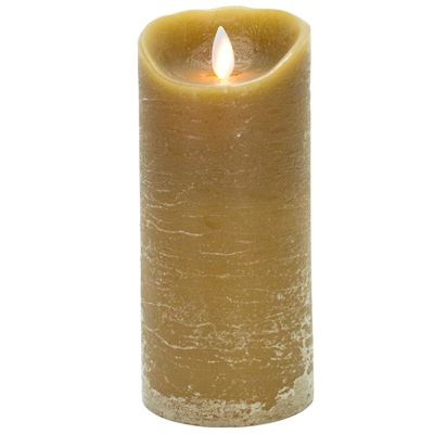 Mystique Taupe Distressed 7 Inch Pillar Flameless Candle