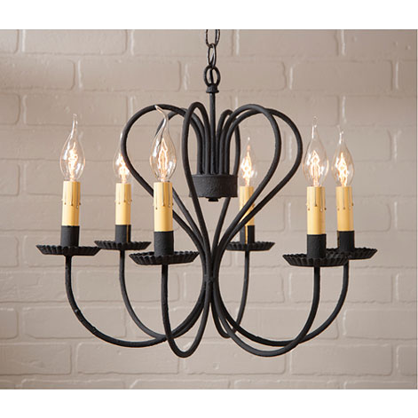 Large Georgetown Wrought Iron Chandelier in Textured Black