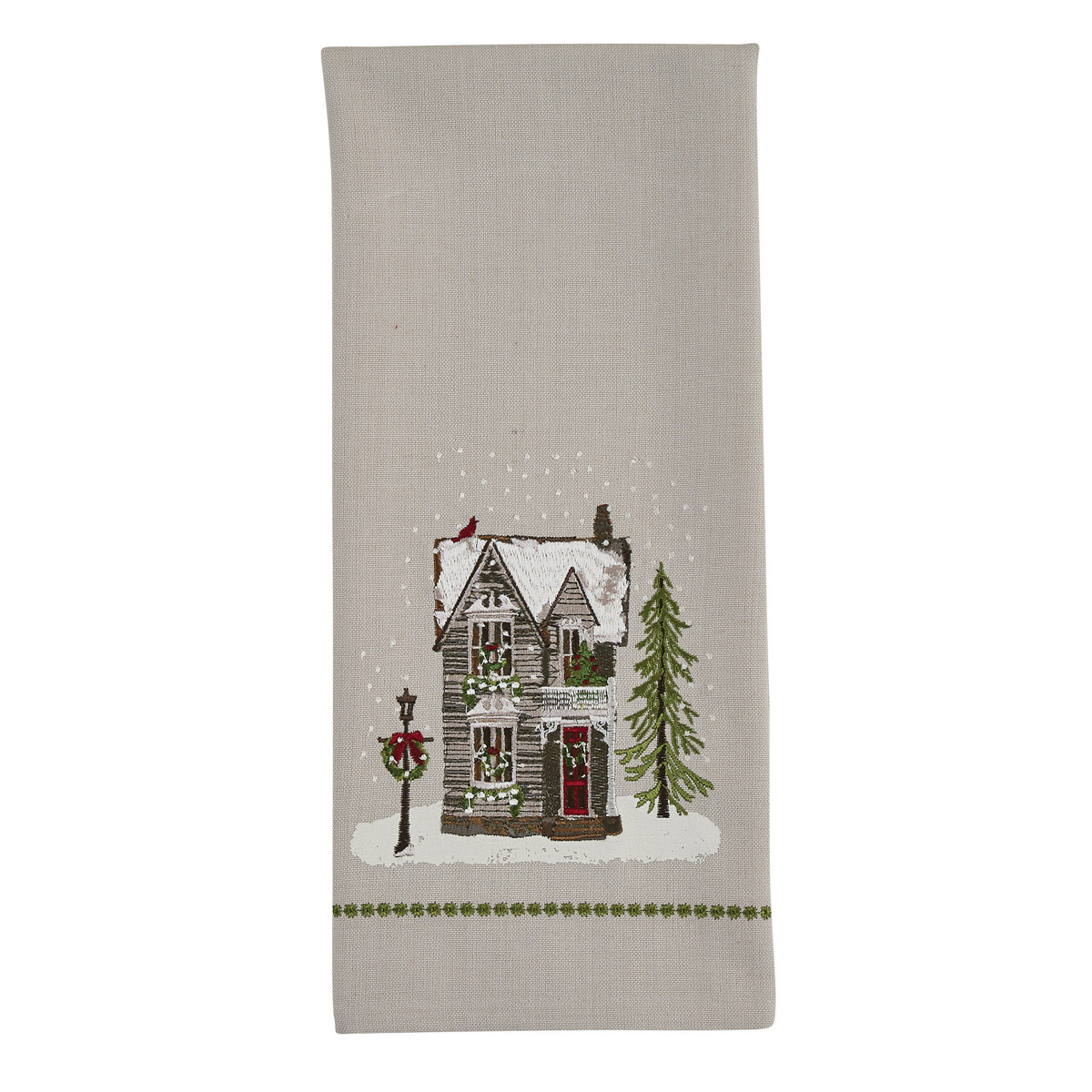 HOUSE PRINTED AND EMBROIDERED DISHTOWEL