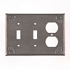 Double Switch and Outlet Cover with Chisel in Blackened Tin