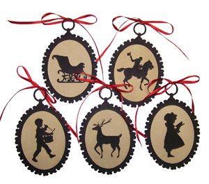 SET OF 5 SILHOUETTE ORNAMENTS