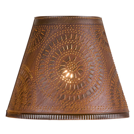 Fireside Tin Shade with Chisel Design in Rustic Tin