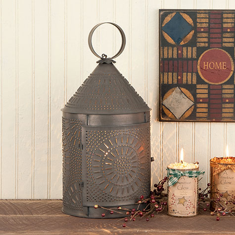 Large Fireside Tin Lantern with Chisel in Blackened Tin