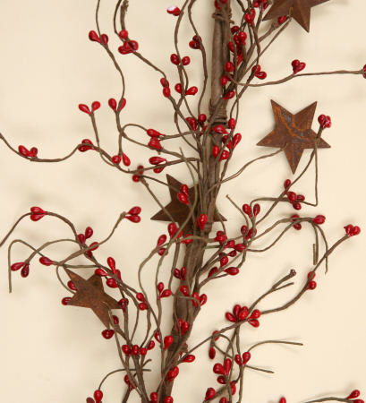 GARLAND - RED SEED BERRIES AND RUSTY STARS