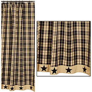 Black Farmhouse Star Shower Curtain (72x72
