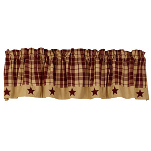 Burgundy Farmhouse Star Valance (72x14